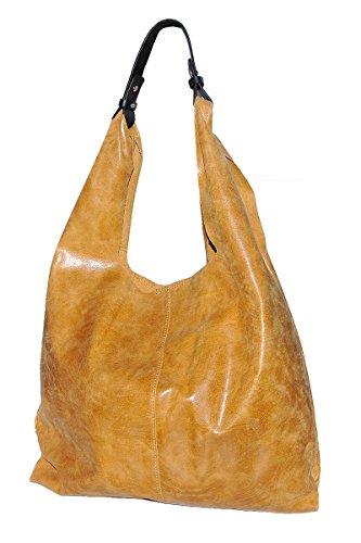 BORDERLINE - 100% Made in Italy - Borsa Sacca da Donna Sfoderata in Vera Pelle - ANTONELLA Color Cuoio