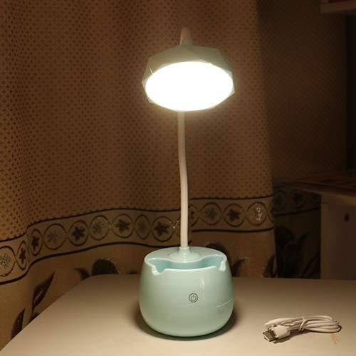 Kreative zylinder stifthalter lade LED augenlicht einfache drei geschwindigkeiten touch nachttischlampe student schlafsaal studie tischlampe blau diamant halterung 19 * 14 * 41 - Lichtmaschine Geschwindigkeit
