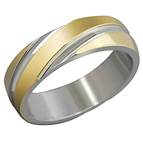 Free Engraving KnSam Men Stainless Steel Bands Gold Classic Polished 6MM Size R 1/2 [Novelty Ring]