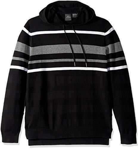 Armani Exchange A|X Herren Cotton Striped Pullover Hoodie Sweatshirt Kapuzenpulli, Black/White/Heather G, XX-Large