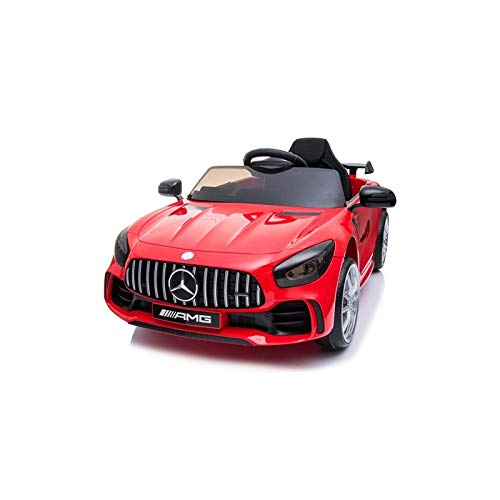 ATAA Coche eléctrico para niños Mercedes GTR 12v con Licencia - Coche de batería con Mando Control Remoto para Padres - Rojo