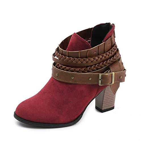 NEOKER Damen Stiefeletten Wedge Schnalle High-Heels Reißverschluss Stiefel Chelsea Schuhe Herbst Römische Trichterabsatz Outdoor Frauen Ankle Boots 8cm Rot 37