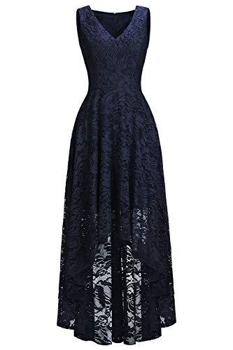 Babyonlinedress® Damen Elegant Vokuhila Spitzenkleid Ärmellos Brautjungfernkleider Feier Cocktail Abschluss Festliche Abendkleider Navyblau 54
