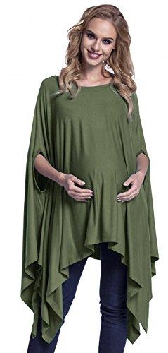 Happy Mama. Femme Top Asymétrique Poncho Long Demi-Manches de Grossesse. 920p Kaki
