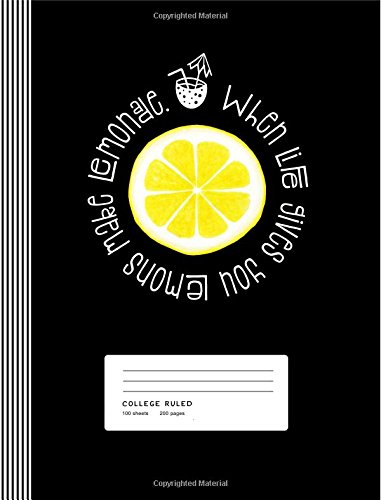 Lemon Motivational Quote When Life Gives You Lemons Make Lemonade Typography Art Inspiration Composition Notebook, College Ruled Lined, 200 Pages, 7.44 x 9.69