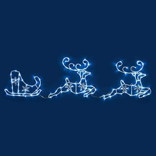 Figura luminosa, renne con slitta effetto ghiacciato 180 x h 50 cm, 144 led bianco freddo, luce fissa, 24v, esterno