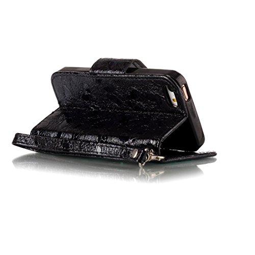 Nancen Wallet Case Hülle für Apple iPhone 5 / 5S / SE (4 Zoll) ,Schmetterling Muster Flip Funktion Kartenfächer Magnet Etui Apple iPhone 5 / 5S / SE (4 Zoll) schwarz