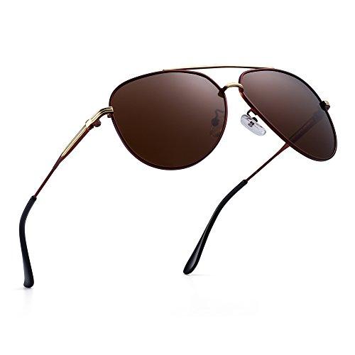 JIM HALO Polarisiert Flieger Sonnenbrille Klassisch Metall Fahren Pilot Brille Damen Herren(Marrón/Marrón Polarizado)