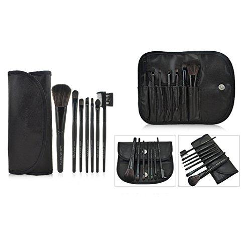 Moon mood® Kit de 7 Manche en Bois Professionnels Multifonctionnel Pinceaux de Maquillage Brosser Cosmétiques en Maquillage de Fard à Paupières Eyeliner Cosmétique Foundation Brush (Noir)