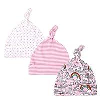 Hwafan Baby Boys Girls 3PCS Cotton Beanie Hospital Hats Newborn Adjustable Knot Sleep Caps Rainbow Rabbit