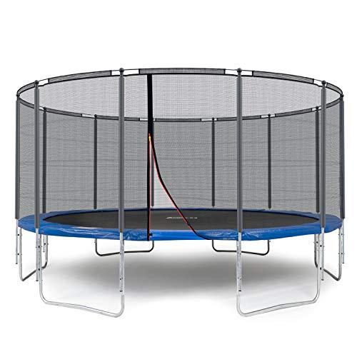 Ampel 24 Outdoor Trampolin 490 cm blau komplett mit außenliegendem Netz, Stabilitätsring, 12 gepolsterten Stangen, Belastbarkeit 180 kg
