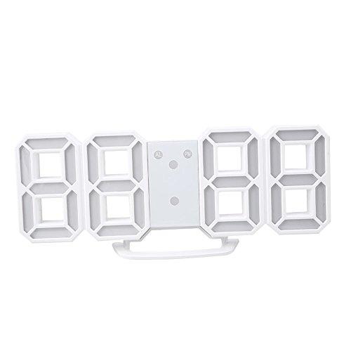 Anzeige Powered Remote (Gulin 3D LED Digital Wand Wecker Multifunktions Digital Wecker Weiß , Weißer Körper Rot)