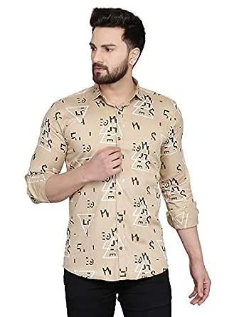 Menkovy Men's Printed Slim Fit Full Sleeve Casual Shirt (Medium, Gold)