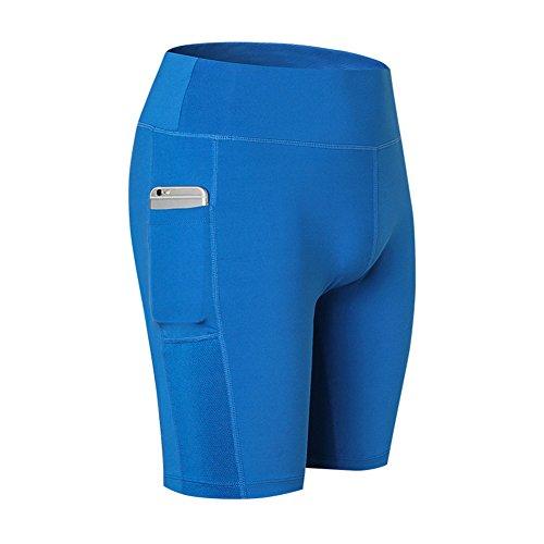 Juleya Damen Kurze Hose Kompressionshose Kurz Leggings Sport Shorts Sommer Thermo Leggins Laufhose Yoga Pants Fitnesshose Sporthosen Tights Funktionswäsche Radhose Unterhosen Blau M -