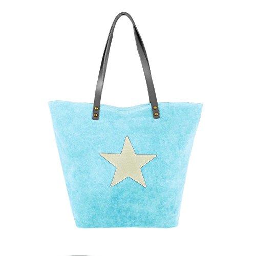 OBC Only-Beautiful-Couture, Borsa tote donna Grigio blu 30(am Bodem)-40(oben)x34(H)x13(T) cm (BxHxT) blu