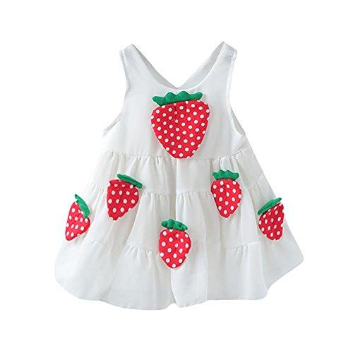 WUSIKY Baby Mädchen Kleid, Neugeborenes Kleinkind Baby Mädchen Erdbeer Applikationen Prinzessin Kleid Kleidung Minikleid Sommerkleid Elegant Lässige Tutu Rock Kinder Geschenk(70,Weiß) (Erdbeer-kostüme Kleinkinder Für)