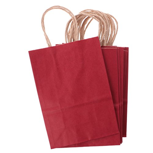 MagiDeal Sacchetto Borsa Borsette Carta Kraft Cartone Bags con Maniglia Buste Shopper Tinta Unica da Regalo Festa per Matrimonio 10 Pezzi - Rosso Scuro, 15x21x8cm