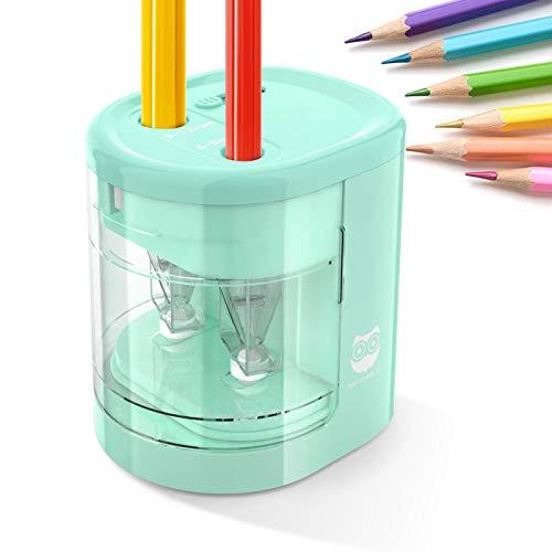 HOMEWINS Elektrischer Anspitzer USB & Batterie Betrieben Anti-Rutsch Automatischer Bleistiftanspitzer mit 2 Löchern und 4 Klingen, Sicherer Spitzer für Kinder, Büro und Schule (Blau)
