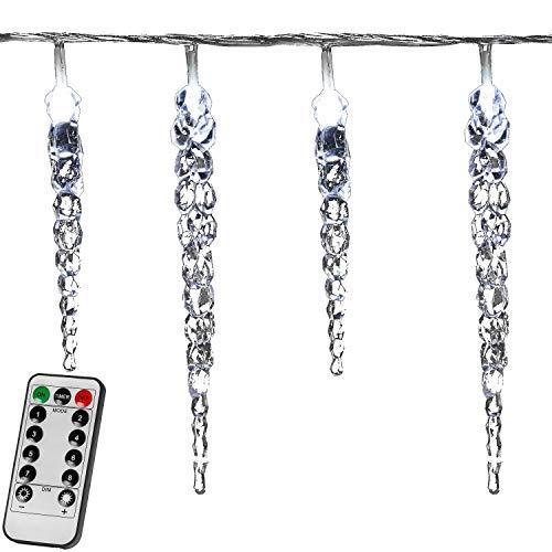 VOLTRONIC 40 LED Lichterkette Eiszapfen für innen und außen, Farbwahl: kalt-weiß/blau, Länge 10,5m, GS geprüft, IP44, optional mit 8 Leuchtmodi/Fernbedienung / Timer