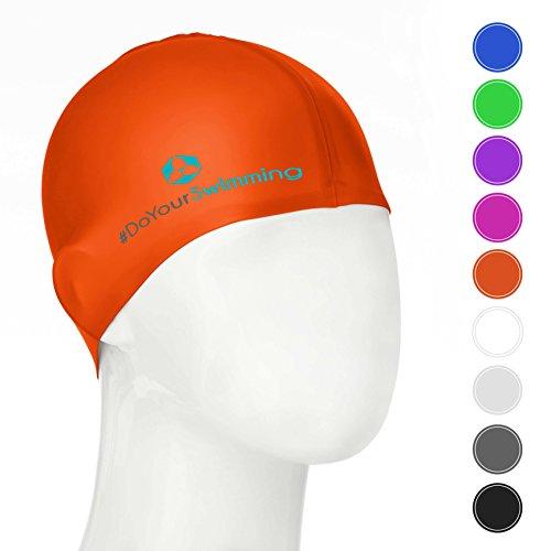 #DoYourSwimming KINDER - Badekappe/Schwimmhaube | für Kinder (Mädchen/Jungen) bis ca. 10Jahre| Silikon (100% wasserdicht) - elastische Badekappe/Schwimmkappe - Tragekomfort »Goldfisch« orange