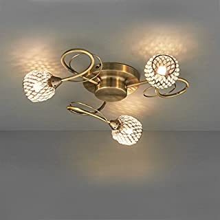 Endon 73758 Aherne Three Light Semi Flush Ceiling Light in Antique Brass Plate and Clear Bead Shades