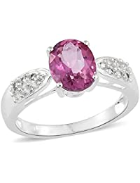 TJC Women 925 Sterling Silver Opal and Ruby Solitaire With Accents Ring Size T UhxQVNcvd
