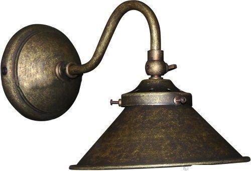 Applique Lampada da parete in ottone brunito Parabola Cono Interno esterno