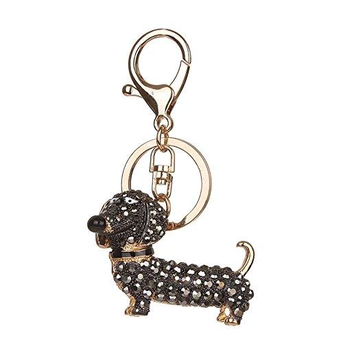 Porte-clés strass en cristal, Chickwin Cute Chien de mode Sac à main Porte-clés (Noir)