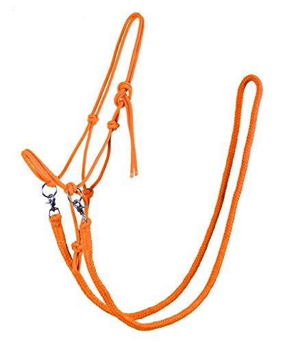 Knotenhalfter mit Zügel Halfter Reithalfter Arbeitshalfter QHP 7 Farben und 4 Größen (shetty, orange)
