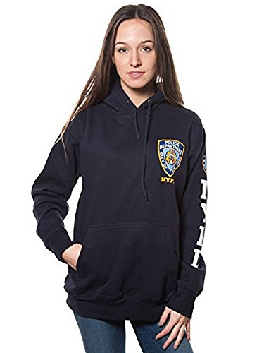 Nypd Hoodie Sweatshirt (NYPD New York Cops Erwachsene Navy Pullover Hoodie mit Brust Patch und Ärmel Print, Damen, Navy, Medium)