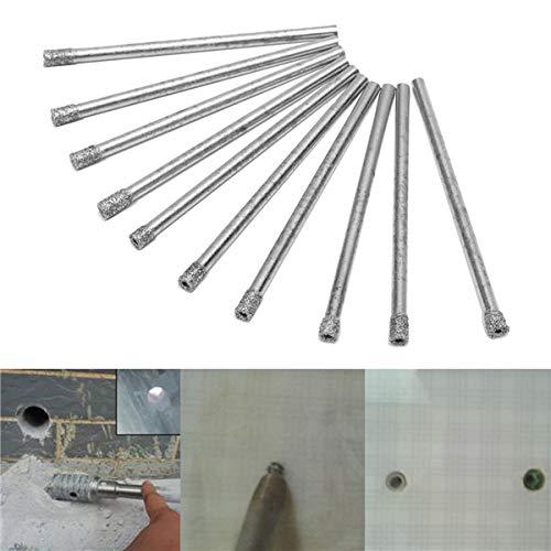 Diamond Core Bit-set (ExcLent 10Pcs 3Mm Diamond Coated Hole Saw Drill Bits Set Core Marble Glass Granite Drill Bits)