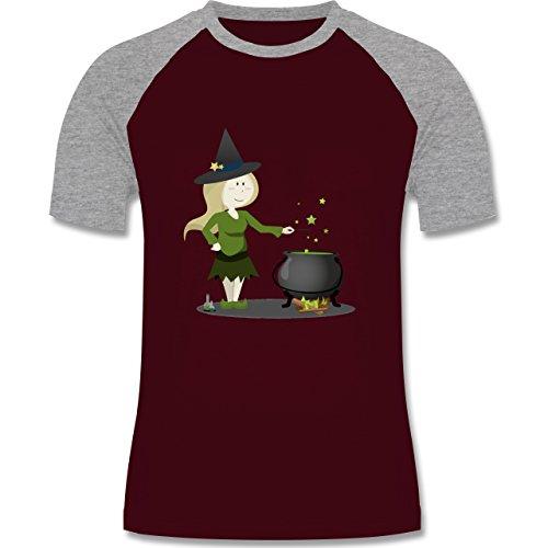 Shirtracer Halloween - Kleine Hexe - Herren Baseball Shirt Burgundrot/Grau meliert