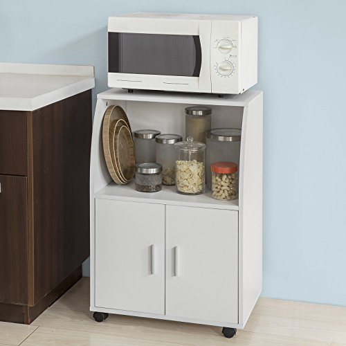 Foto de SoBuy®Aparador auxiliar bajo de cocina para microondas,con 2 puertas y 1 estante,L59 cm x P40 cm x H92 cm,FRG241-W,ES