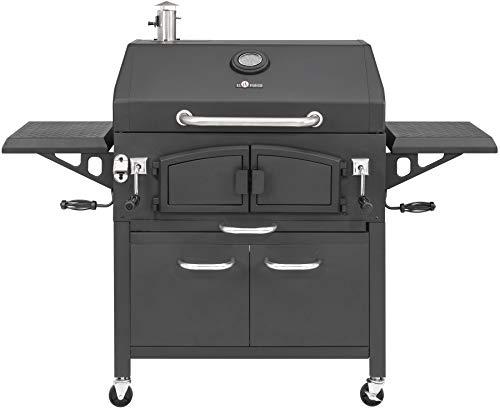 Holzkohlegrill Grand Ontario von EL Fuego® Grill Smoker BBQ Grillwagen Barbecue, mit Thermometer, inkl. Flaschenöffner, mit Warmhalterost und Ascheauffang, AY 572