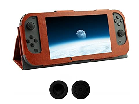 Chickwin Nintendo Switch Joy-Con Controlle Ultra Thin Leder Anti-Rutsch-Flip Case Cover Skins Schutzhülle + 2 Thumb Griffe (Braun)