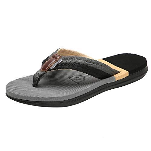 SANFASHION Herren Flip Flops, Beiläufige Flache Hausschuhe Strandschuhe Outdoor Rutschfeste Schuhe Open Toe Slingback Sandalen
