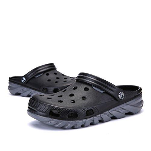 Dexuntong Uomo Estiva Scarpe da Spiaggia Sandali da Mesh Traspirante Scarpe da Bagno Walking Pantofole Anti-Slip38-45 Grigio
