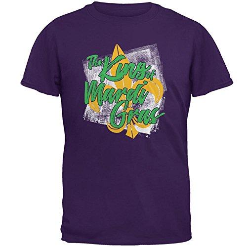The King of Mardi Gras Mens T Shirt Purple 2XL (Fleur Mens Tee)