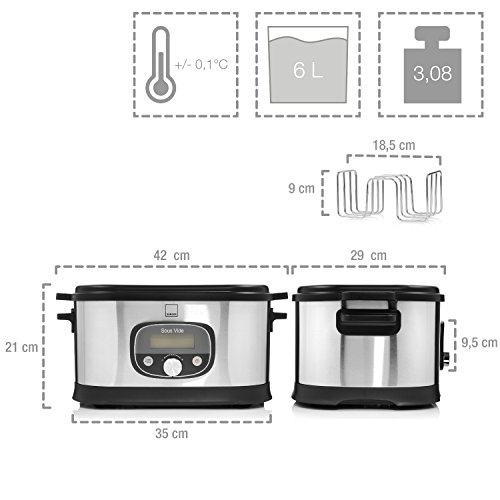 Sänger Premium Sous Vide Garer 520 Watt 6 Liter | Niedrigtemperatur-Garer bis zu 72 Stunden Garzeit einstellbar | Gebürstetes Edelstahlgehäuse | Temperaturbereich zwischen 40 - 90 °C - 3