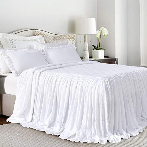 Queen's House Weiß Baumwolle Bett Röcke Shabby Chic Full Style 002