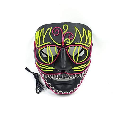 Halloween - Maske Mit Kaltem Licht Leuchtende Maske Linie Terror,Blume Kopf (Kalten Kopf Maske)