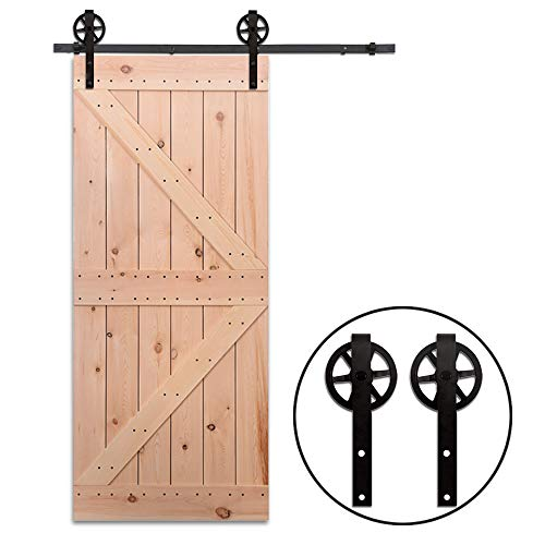 7.5FT/228cm Schiebe Tür-Hardware-Track-Kit Einzeltür Holztür - Sliding Barn Wood Door Hardware Roller Track Kit For Single Door Big Spoke Wheel Roller Hanger - Schiebe-tür Und Tür-hardware
