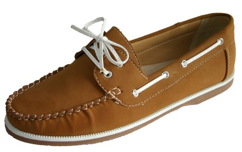 Ladies Coolers Faux Nubuck Leather Loafer Lace Up Boat Deck Shoes Sizes 4 - 8 (6 UK, Tan)