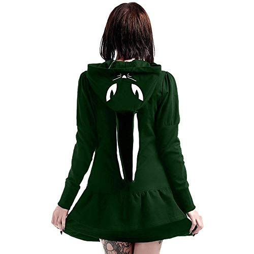 Preisvergleich Produktbild i-uend 2019 Damen Mantel - Wintermantel Mit Kapuze Bunny Girl Cosplay Mäntel Vintage Gothic Outwear Jacken Reißverschluss Pocket Jacke Mantel