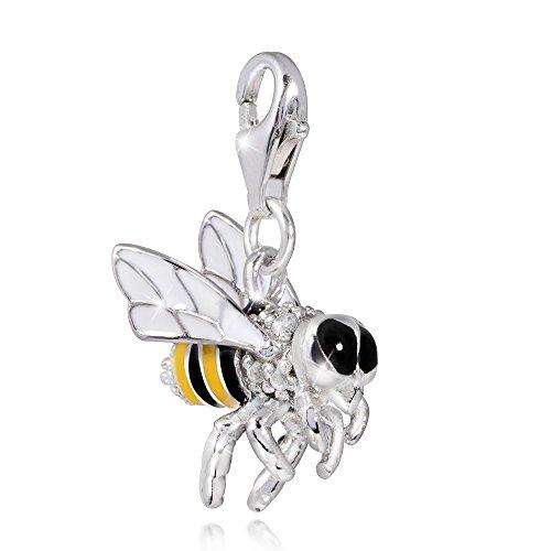 MATERIA 925 Silber Charms Anhänger Biene Wespe - Emaille Charm gelb für Bettelarmband / Kette mit Box #C23 (Bee-schmuck-box)