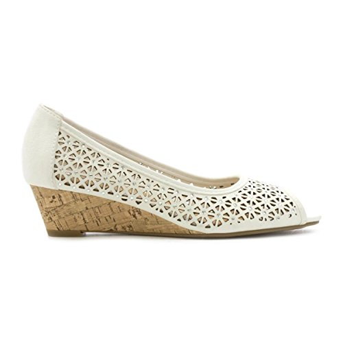 Lilley Womens White Chop Out Wedge Open Court Shoe – Size 5 UK – White