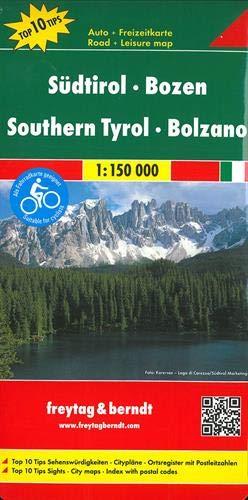 Südtirol - Bozen, Autokarte 1:150.000, Top 10 Tips, freytag & berndt Auto + Freizeitkarten (Store-gruß-karten)