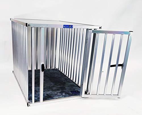Callieway® ALU DOGBOX/Hundebox/ALU Hundkäfig für Büro und Daheim (nur vertikale Stäbe) (XXLarge: 109cm (L), 74cm (B;Türseite), 77cm (H))