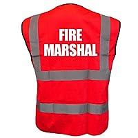 FIRE MARSHAL Red Hi Vis Viz Reflective Vest Waistcoat Printed Front and Back Safety Workwear- Printed By Brook Hi Vis, Large