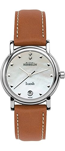 Michel Herbelin Metropole Women's Quartz Watch with Mother of Pearl Dial Analogue Display and Brown Leather Strap 12432/89GO